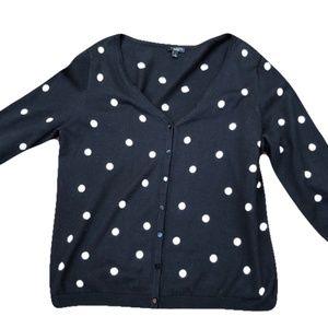 Talbots Sweaters - Talbots polkadot 3/4 sleeve cardigan size large
